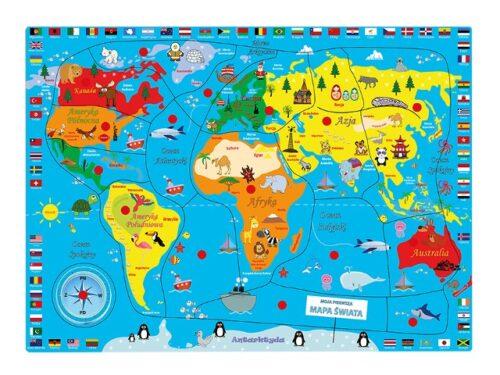 Top Bright puzzle drewniane pinezki - mapa Świata zdjęcie 4