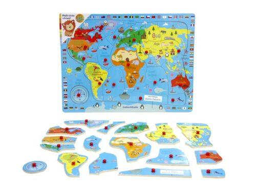 Top Bright puzzle drewniane pinezki - mapa Świata zdjęcie 1