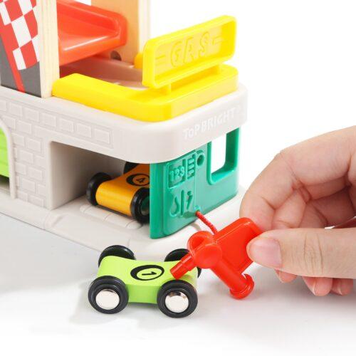 Top Bright drewniany tor samochodowy - 4 rampy, garaż i myjnia zdjęcie 7