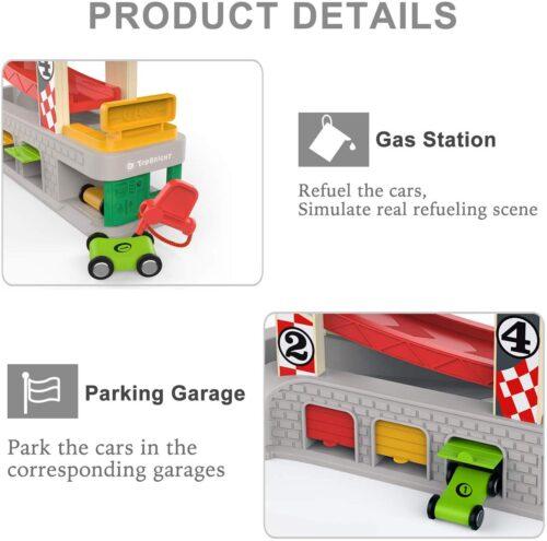 Top Bright drewniany tor samochodowy - 4 rampy, garaż i myjnia zdjęcie 11