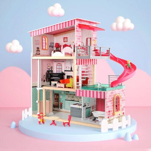 Top Bright duży drewniany domek dla lalek z basenem zdjęcie 3