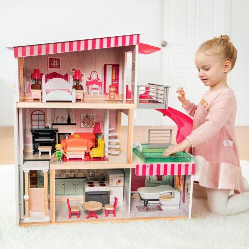 Top Bright duży drewniany domek dla lalek z basenem zdjęcie 1