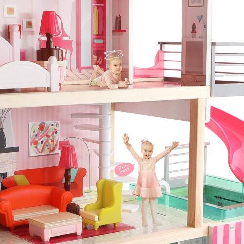Top Bright duży drewniany domek dla lalek z basenem zdjęcie 2